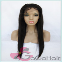 Wholesale Hand Tied Wigs Silky Straight Jet Black Color Can Be Dayed Unprocessed Virgin Full Lace Wig Glueless
