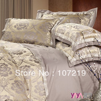 Wholesale Luxury fashion colorful faux silk satin big jacquard piece set bedding cotton kit set have king size
