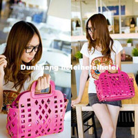 Wholesale Vivian European and American big hollow candy colored woven bag mesh bag handbag bag handbags double