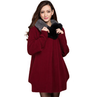 Wholesale Women s mink cashmere overcoat female high quality fashion long design fur collar thickening sweater outerwear