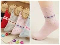 Wholesale hotsale autumn and winter warmth socks cute heart style rabbit cotton wool socks Women ladies s winter socks