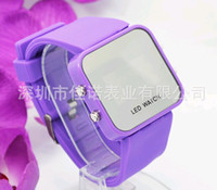 Wholesale Best price LED Mirror watches Plastic frame watch Candy colors Quartz Silicone strap Digital
