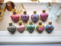 Wholesale Of ML love Fimo essential oil bottle necklace lucky bottle glass aromatherapy jewelry