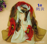 Wholesale New Arrival Scarf For Women Korean Style Chiffon Scarves Big Flower Printed Elegant Girl Scarf Hot On Sale