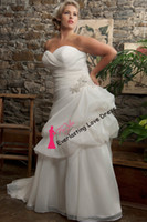 A-Line Reference Images customized Free Shipping 2014 Sweetheart Neckline Ruffled Organza Pin Up Sweep Train Beading Plus Size Wedding Dress Bridal Gown vestidos de novia
