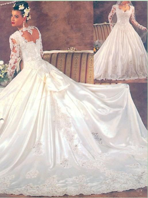 Discount 80s Classic Wedding Dress Full Long Sleeves Lace