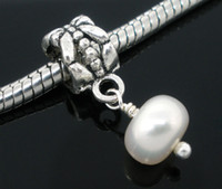 Wholesale 100PCs Freshwater Flat Round Pearl European Dangle Beads Fits Charm Bracelet x8mm
