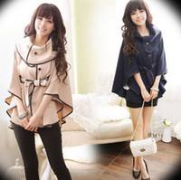 Wholesale Korean the new autumn and winter fashion women large lapel slim cotton bat sleeve khaki dark blue cape style trench coat ewwt236
