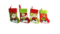 Wholesale Free shpping fabric Christmas socking santa sock decorations Christmas gifts santa snowman and reindeer pattern SHB003