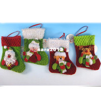 Wholesale Christmas pendant stocking fabric santa sock decorations Christmas gifts santa snowman and reindeer