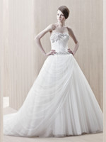 Wholesale Drop Shipping Ball Gown Tulle Wedding Dress Sweetheart Bridal Gown Beaded Sequins Zipper Back Chapel Train Sleeveless Pleat Upscale Hot