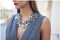 Chokers statement necklaces - 2014 Retail Fashion Brand Luxury Chunky Crystal Necklace Women Choker Statement Necklace KC