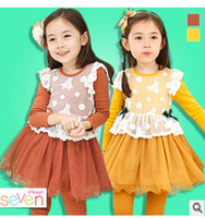TuTu Winter A-Line Korean style children's clothes Girls Spring Dress princess dress lace stitching round neck Puff veil