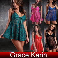 Wholesale Sexy Women s See through Lace Underwear Lingerie Padded Mini Sleep Dress with G String SU533
