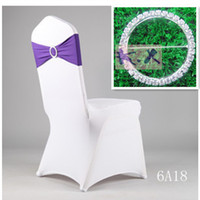 Wholesale White Wedding Lycra Spandex Chair Cover And Purple Lycra Spandex Chair Band Include Diamond Buckle