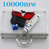 Wholesale 10000mw W High Power Blue Laser Pointers Flashlight Combustion m laser pen lazer blue gift box battery charger