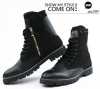 Wholesale Winter Men s Warm Martin Boots Fashion High Shoes Ziper Design Plus Velvet Mens Shoes