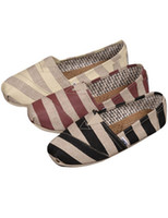 Wholesale Casual Stripe Printed Round Toe Woman s Loafers canvas shoes r39 u13 wmD