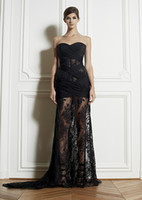 Cheap Sexy Black Lace Sweetheart Zuhair Murad Evening Gowns Corset And Tulle Sheer Transparent Pleats Chiffon Prom Celebrity Dresses Court Train