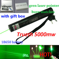 Wholesale 532nm professional powerful mw green laser pointer pen lazer light with battery focus burning wood matchs