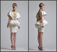 Wholesale 2014 new year style cheap Krikor Jabotian New Retro High Neck Short Sleeves Appliqued Chinese Wind Appliqued Mini Evening Cocktail Dress