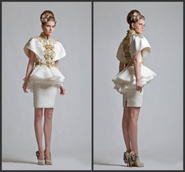 2014 new year style cheap Krikor Jabotian New Retro High Neck Short Sleeves Appliqued Chinese Wind Appliqued Mini Evening Cocktail Dress