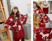 Wholesale sweaters CHRISTMAS SNOW Elk PATTERN LONG SLEEVE CREWNECK Jumpers WF RD F