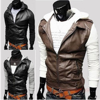 Jackets Men Cotton New Men'S British Style Stitching Machine Wagon Knit Hooded Slim Short Paragraph Leather Jacket Hooded Slim Outerwear MF-4309