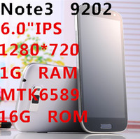 """Star 6.0 Android original note 3 n9202 N9000 6.0""""IPS HD screen mtk6589t quad coer phone 1.5ghz 1G RAM+16G ROM Android 4.2 1280*720 5mp+13.0mp 2 SIM GSM+WCDMA"""