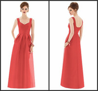 Wholesale Top Quality Double Straps Red Satin Pleat Prom Dress Bridesmaid Dresses B7 Size