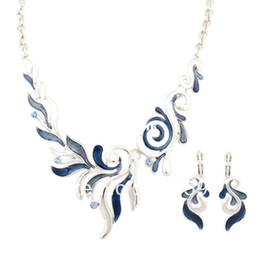 (Min.Order $10) Alloy Choker Necklaces and earrings set Leaves enamel jewelry set Fashion Jewelry set Wholesale A427