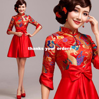 Wholesale Improved cheongsam sexy red retro bridal dress wedding toast clothing long sleeved winter wedding bridal wear