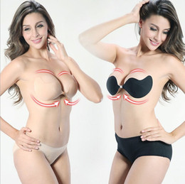 Wholesale Sexy V Style Push Up Strapless Silicone Wire free Self Adhesive Front Closure Bust Invisible Bra Free Ship Black Beige S L