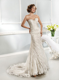 Wholesale 2014 Collection Best selling Sweetheart Neckline Beads Mermaid Sheath Lace Pleated Wedding Dresses Applique Lace up back Bridal Gowns