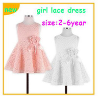 Wholesale Retail new HOT Summer girl lace bowknot flower sleeveless princess one piece dress fashion elegant vest dress for children kid pink white