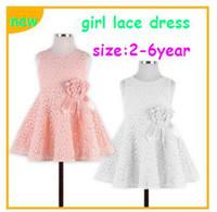 Wholesale Retail new HOT Summer girl lace bowknot flower sleeveless princess one piece dress fashion elegant vest dress for children kid pink white