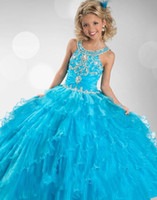 Reference Images Girl Beads New Hot Scoop Neck Floor Length Beaded Flower Girl Dresses Sleeveless Ball Gown Baby Pageant Occasion Gowns Blue Kids Children Party Dresses