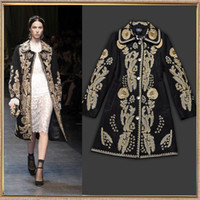 Wholesale Autumn amp Winter Catwalk Fashion Women Peter Pan Collar Luxurious Gold Embroidery Woolen Blends Coat Royal Coat