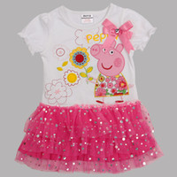 Wholesale Nova new m y baby girls peppa pig flower corsage tutu lace sequins cupcake dresses cotton elastic cuff summer tunic tops dress