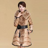 Down Coats Women Cotton New 2013 fashion luxury rabbit fur women down jacket fur collar hoodies winter warm coats european spliced cotton woman clothing