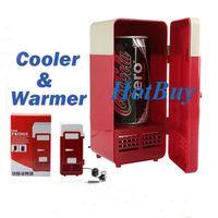 Wholesale Red Mini USB LED PC Fridge Refrigerator Drink Cans Food Cooler Warmer