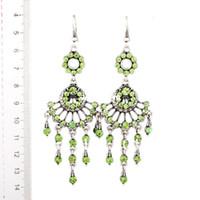 Wholesale Min Order Fashion Vintage Green rhinestones earrings with tassels alloy drop earrings Fashion jewelry E13