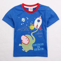 Boy Summer Standard 2014 Newest Blue Fresh stock Nova cute baby clothes 18m-6y boys t-shirts cartoon clothing George Peppa Pig cotton short sleeve tops tees