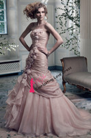 Trumpet/Mermaid Reference Images Organza Free Shipping 2014 Strapless Ruched Hand Made Flowers Pin Up Organza Mermaid Wedding Dresses With Color Bridal Gown vestidos de novia