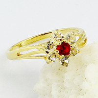 Wholesale 18k rose goldA generation of fat sleek gold ring ruby ring Five Diamond Flower Ring inplated K gold