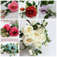 Wholesale 8PCS cm quot LENGTH SIX COLORS REAL TOUCH PU ROSE CAMELLIA ONE FLOWER HEAD and TWO BUDS WITH STEMS FOR WEDDING BOUQUETS