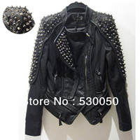 Coats Women Real Leather 2013 Women's punk RIVETS STUDDED Motorcycle PU Leather Spike autumn winter european style clothing outerwear women coats