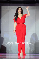 Reference Images Celebrity Dresses Pleat Kim Kardashian Red Dress In Dubai Celebrity Long Chiffon Prom Gown Celebrity Dress Formal Gowns Evening Dresses