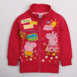 Wholesale Nova m y baby girls new design peppa pig embroidery rose red casual jackets children winter outwear kid fleece hoodies