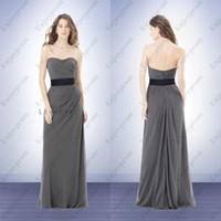 Wholesale 2014 Hot Cheap Bridesmaid Dresses Stunning Gray Chiffon Strapless Pleats and Black Sash A line Wedding Party Dresses